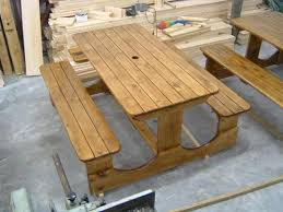 wooden table and bench furniture contour decks