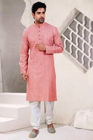 stylish cotton kurta pyjama in peach color from kalaniketan com