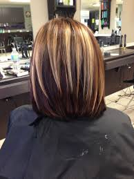 angled bob with blonde highlights brown and red lowlights