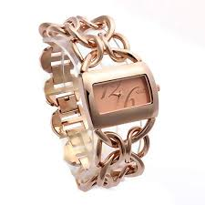watches with chain bracelet images G d women 39 s rose gold tone metal interlocking chain jpg