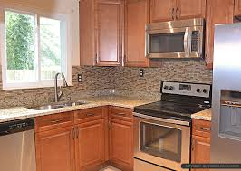 kitchen ideas with brown cabinets brown glass stone tile santa cecilia countertop backsplash com
