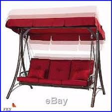 outdoor porch swing with canopy cover red cushion patio seat