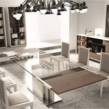 Glass Modern Dining Room Furniture Kitchen 12 Brown Painted Oak Dining Table With Rectangle Glass
