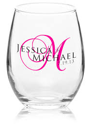 stemless wine glasses wedding favors custom 9oz arc perfection personalized stemless wine glasses