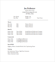 Theatrical Resume Acting Resume Template Acting Resume No Experience Template 10
