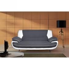 canapé droit 3 places spacio canape droit 3 places tissu pvc gris blanc achat prix