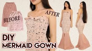 Long Dresses For Cocktail Party - diy turn skirts into mermaid gown long dress for party prom