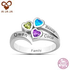 mothers ring with names family friendship ring personalized 3 name engraved heart