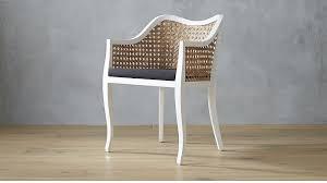 taybas white cane chair with black cushion cb2