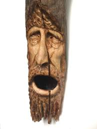 sculpture home decor wood spirit wood carving log home decor face sculpture handmade