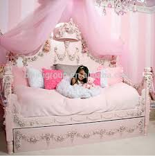 kids wooden carving children luxury daybed with bed crown