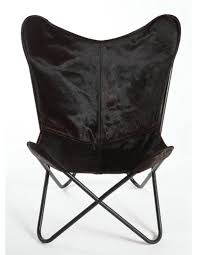 espresso hair on hide butterfly chair