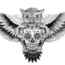 owl open wings open wings owl clock and tattoos on chest