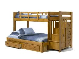 bedroom modern dark lacquered pine wood bunk bed with drawers