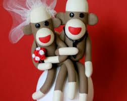 sock monkey humorous birthday u0026 wedding cake toppers by spiritmama