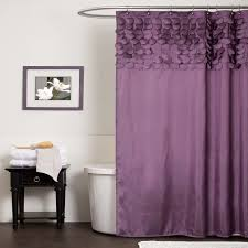 decorating modern bathroom design with elegant purple valance and