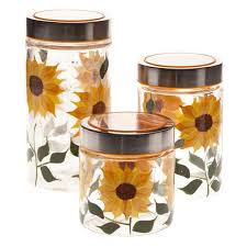 sunflower canisters for kitchen sunflower glass kitchen canisters set of 3 metal and clear lid