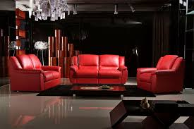 Black And Red Sofa Set Designs Furniture Comfortable Red Leather Recliner For Excellent Living