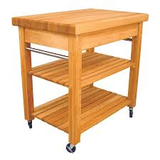 butcher block island table kitchen cart with trash bin serving
