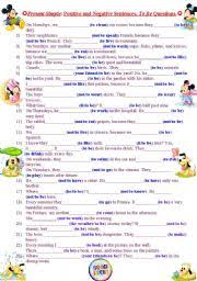 english exercises to be negative sentences