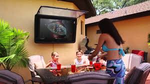 Outdoor Tv Cabinets For Flat Screens by Outdoor Tv Cover The Tv Shield Watch Tv Outside Youtube
