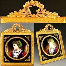 Gilt Bonze Enameled Portrait Antique 19c Miniature Portrait Porcelain Plaque Gilt Bronze