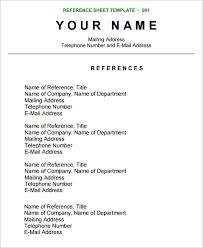 Reference Sheet Resume Reference Sheet Template Resume Template Info