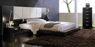 Wall Mounted Headboard Bedroom Warm Fur Rug Black Low Profile Bed Black Drawers Wall
