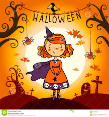 cute happy halloween pictures happy halloween little witch and pumpkin card stock vector
