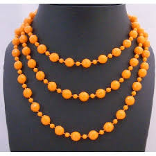 long orange necklace images Orange cultured pearls long 54 inches sexy elegant chic necklace gift jpg