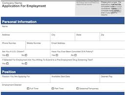 Outline Of A Resume For A Job by 4 Customizable Employee Job Application Forms Pdf Word