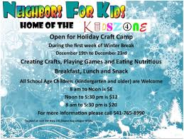 neighbors for kids kidzone holiday craft camp lincoln city