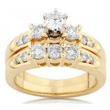 yellow gold wedding sets 1 carat diamond bridal set in yellow gold jewelocean