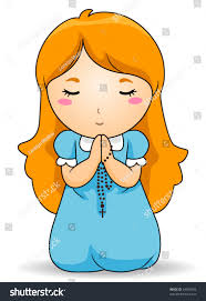 rosary for kids kid praying rosary vector stock vector 44099146