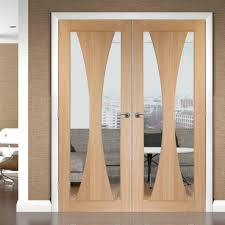 Fire Rated Doors With Glass Windows by Verona Oak Flush Fire Door Pair With Clear Glass Is 30 Minute Fire
