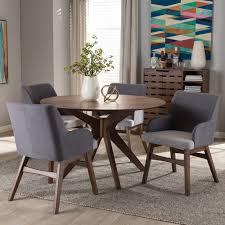 5 Piece Dining Room Sets by Baxton Studio Monte Mid Century Modern Walnut Wood Round 5 Piece