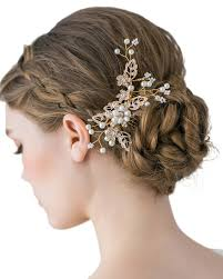 wedding hair clip gold cz rhinestone hair comb pins bridal wedding hair