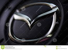 mazda steering wheel kyiv ukraine august 05 2017 mazda car logo on the steering