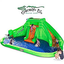 Best Backyard Water Slides Amazon Com Blast Zone Crocodile Isle Inflatable Water Park With