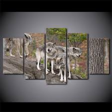 modern hd printed paintings 5 panel wild wolf group modular