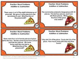 and subtracting fraction word problems 4th grade fraction pizza games