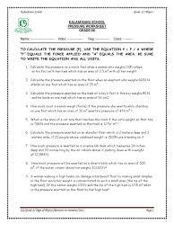 Science Worksheets Grade 7 Solid Pressure Worksheet Weight Pressure