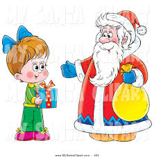 christmas clip art of a little holding a gift and standing