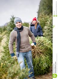 family with christmas tree on a farm royalty free stock
