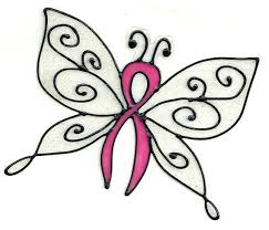 pink ribbon glitter butterfly window cling fight