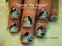 raven nail art black bird nail art bat nails halloween nail art