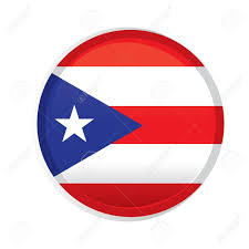 Flag Puerto Rico A Round Badge With The Flag Of Puerto Rico On A White Background