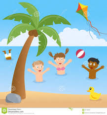kids playing on a beach with palm tree stock vector image 39745030