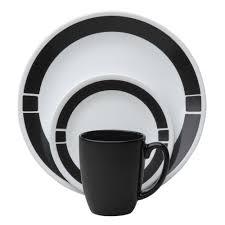 Corelle Square 30 Piece Dinnerware Set Gibson Home Vivendi 16 Piece Dinnerware Black Andwhite Two Tone