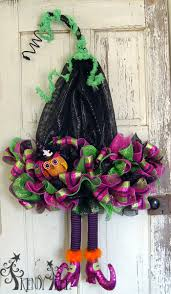 how to make a halloween wreath with mesh ribbon witch hat with legs tutorial youtube